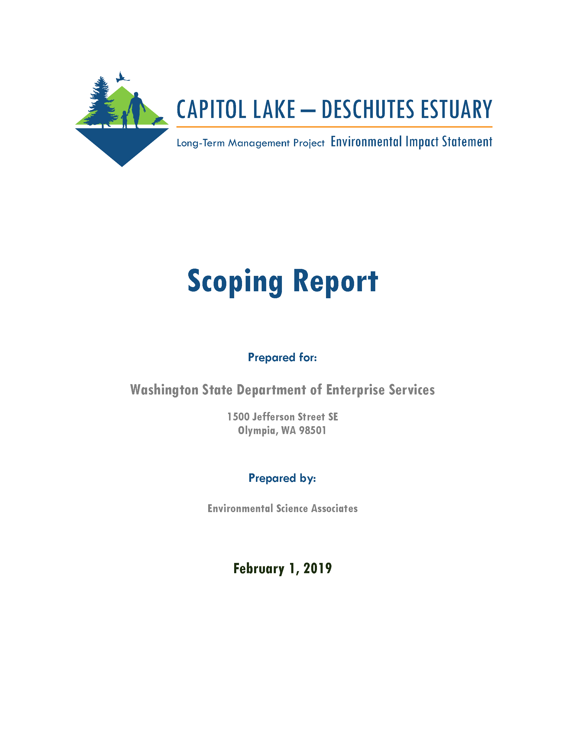 Cover page of the Cover of Capitol Lake - Deschutes Estuary Scoping Report Long-Term Management Planning